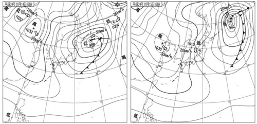 11月14日と11月15日の天気図.jpg