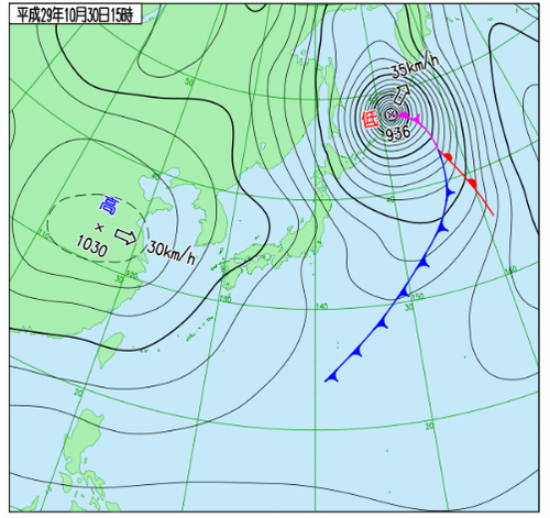 930へクトパスカル台にまで発達する台風崩れの温帯低気圧17103015.jpg